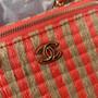Chanel Raffia Vanity Case Bag 12cm AP1999 Jute Thread/Lambskin Leather Spring/Summer 2021 Collection,  Pink