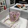 Chanel Pearl Chain Drawstring Bag 12CM AS2529 Lambskin Leather Gold Hardware Spring/Summer 2021 Collection, Pink