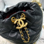 Chanel Pearl Chain Drawstring Bag 12CM AS2529 Lambskin Leather Gold Hardware Spring/Summer 2021 Collection, Black
