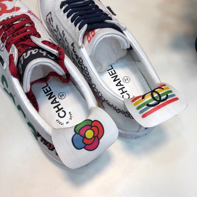 wholesale dealer 7b97f 08916 Chanel x Pharrell Capsule Graffiti Canvas Lace Up Unisex Sneakers  Spring/Summer 2019 Collection, White