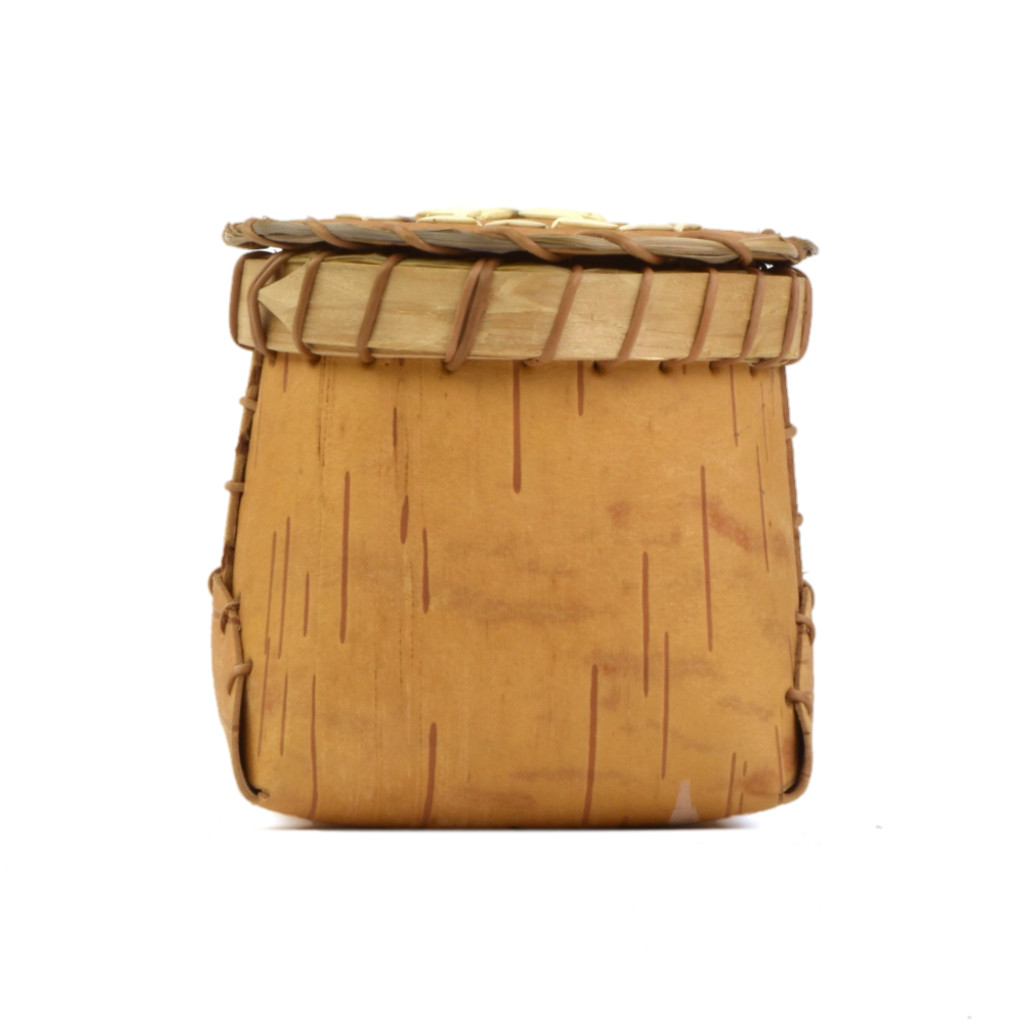Birchbark Container with Quillwork Cover by Barry Dana (Penobscot).