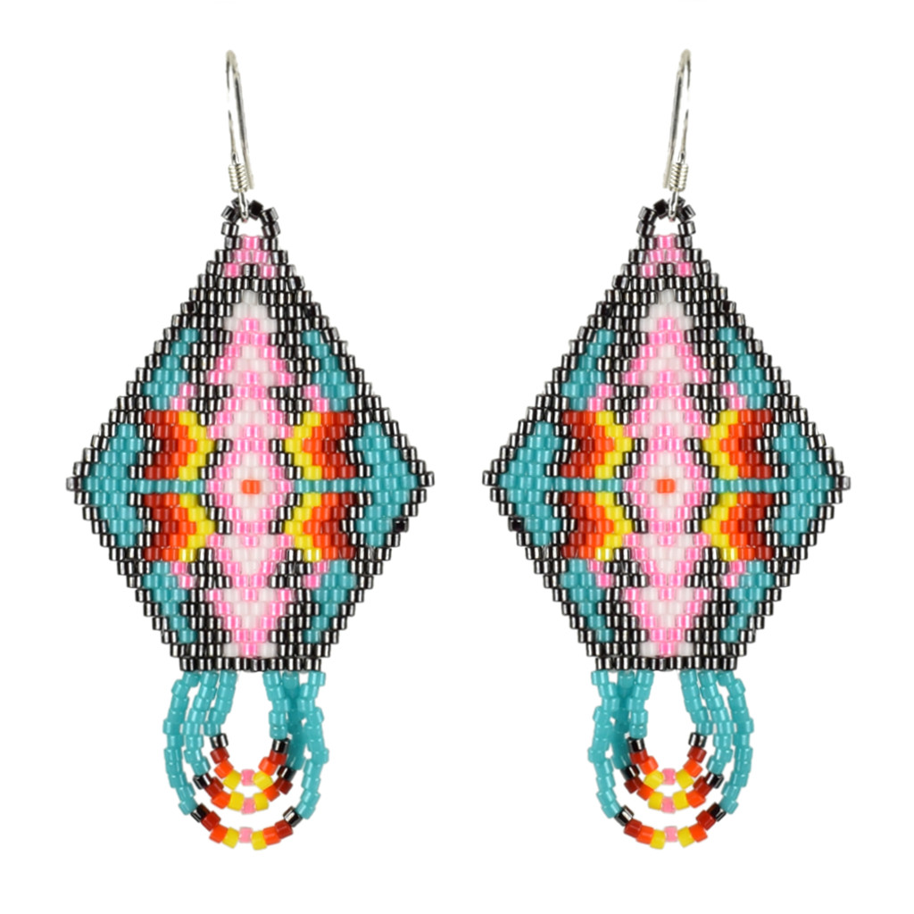 Delica Diamond Earrings with Fringe by Faye Decontie (Penobscot).