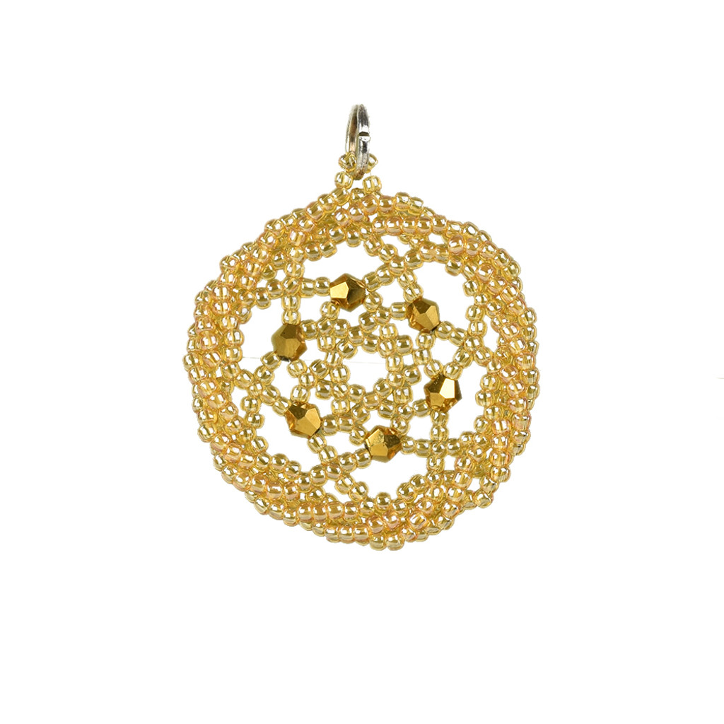 Gold Twisted Edge Dreamcatcher Pendant with Swarovsky Crystals by Jo-Ellen Loring Jamieson (Penobscot).