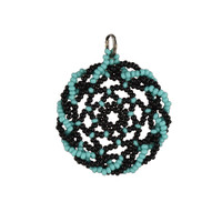 Black and Turquoise Twisted Edge Dreamcatcher Pendant by Jo-Ellen Loring Jamieson (Penobscot).