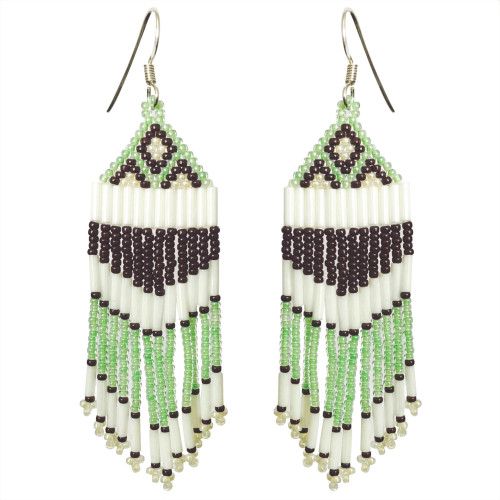 Beaded Brick Stitch Earrings with Straight Fringe by Faye Decontie (Penobscot).