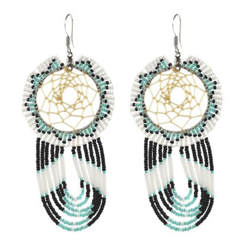 Large Beaded Dream Catcher Earrings with Drop Fringe by Faye Decontie (Penobscot).