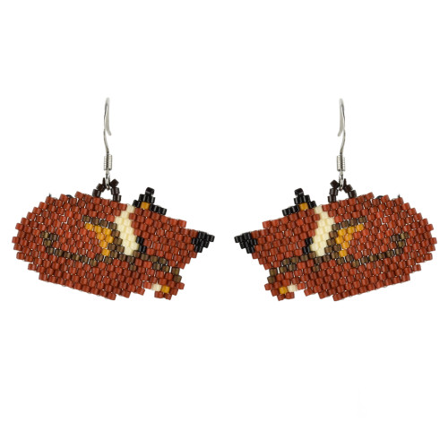 Sleeping Fox Brick Stitched Earrings by Martha Newell (Penobscot).