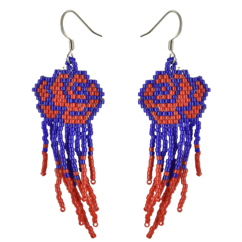 Rose Brick Stitched Earrings with Fringe by Martha Newell (Penobscot).