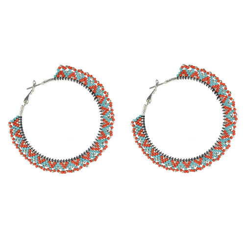 Beaded Snake Hoop Earrings with Picot Edging by Jo-Ellen Loring Jamieson (Penobscot).