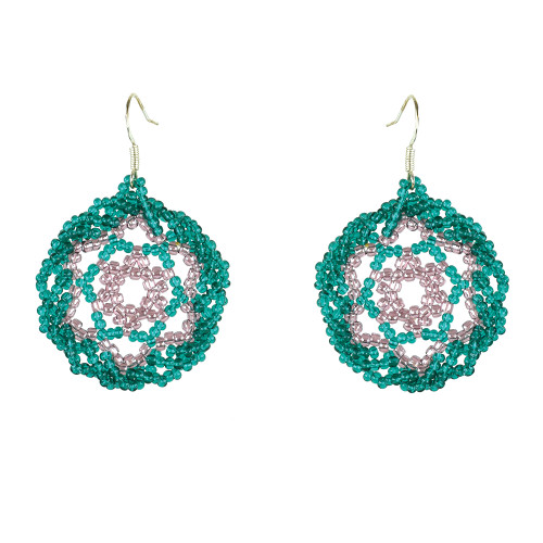 Twisted Edge Dream Catcher Earrings by Jo-Ellen Loring Jamieson (Penobscot). Item #71-0059 (Turquoise, Dk. Lilac)