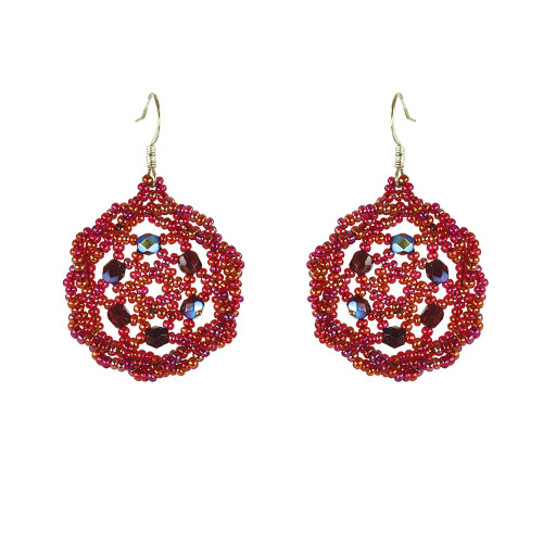 Twisted Edge Dream Catcher Earrings with Swarovsky Crystals by Jo-Ellen Loring Jamieson (Penobscot).
