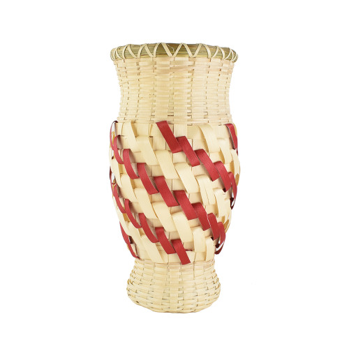 Butch Jacobs's Red and Whtie Sprial Vase by Butch Jacobs (Passamaquoddy).