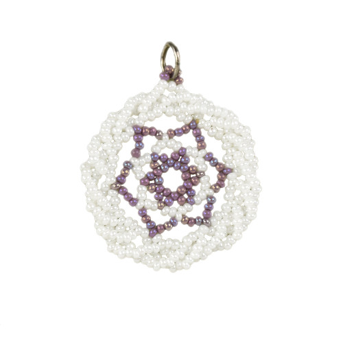 White and Purple Twisted Edge Dreamcatcher Pendant by Jo-Ellen Loring Jamieson (Penobscot).