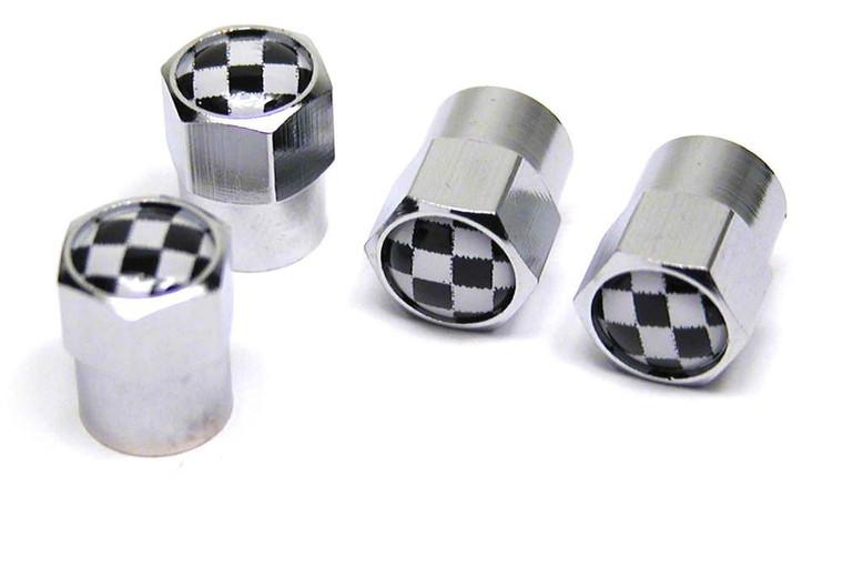 Tire Valve Caps - Checkered - Set Of 4 (M3185)