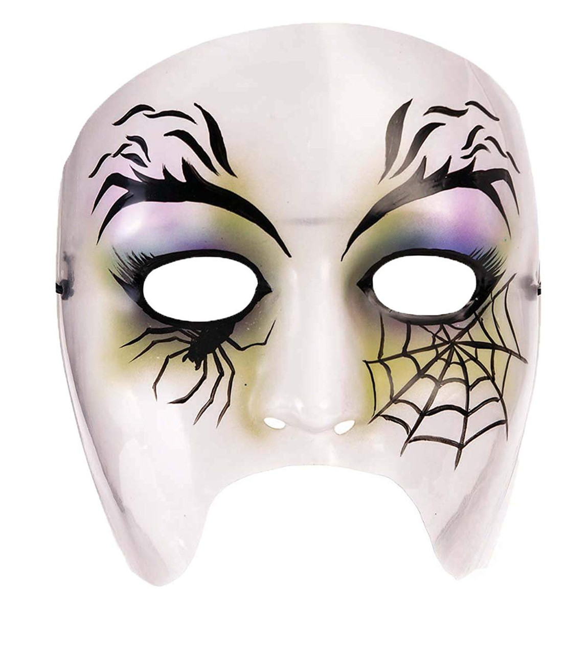 Halloween Costume 370.Spider Web Female Plastic Mask Witch Fancy Dress Up Halloween Costume Accessory