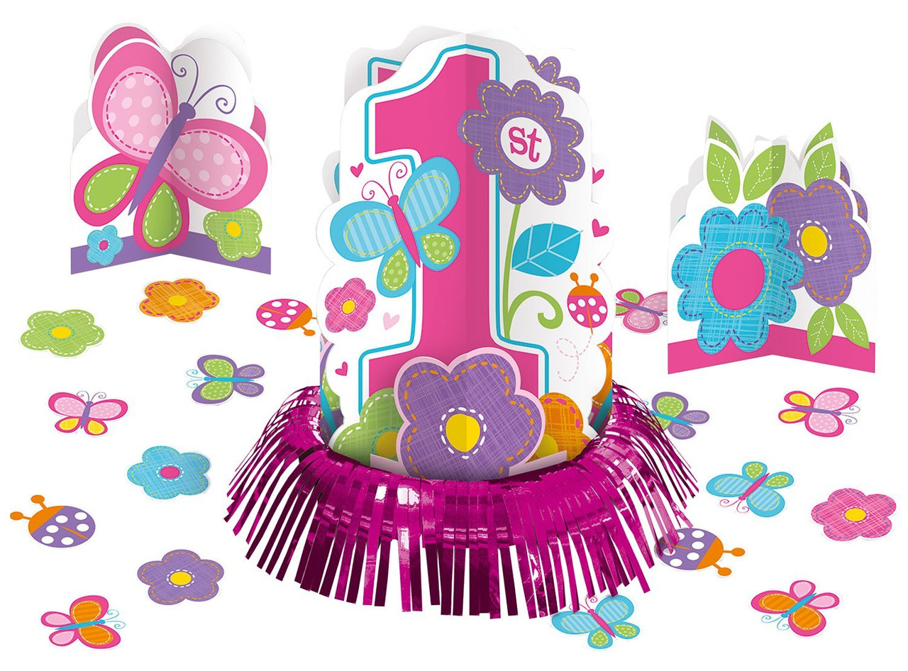 Sweet Girl Butterfly Flower Cute Kids 1st Birthday Party Table Decorating Kit