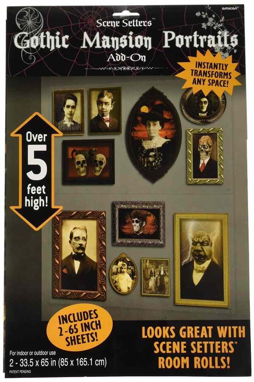Halloween Party Decorations Gothic Mansion Portraits Add on Scene Setter
