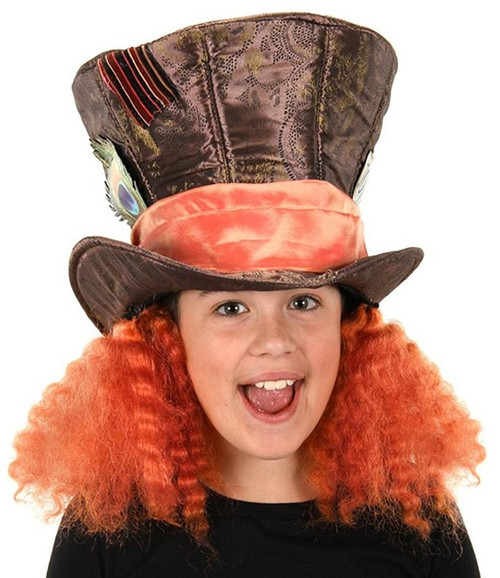 c6dc62deb99 Mad Hatter Hat w Hair Alice in Wonderland Deluxe Child Costume Accessory