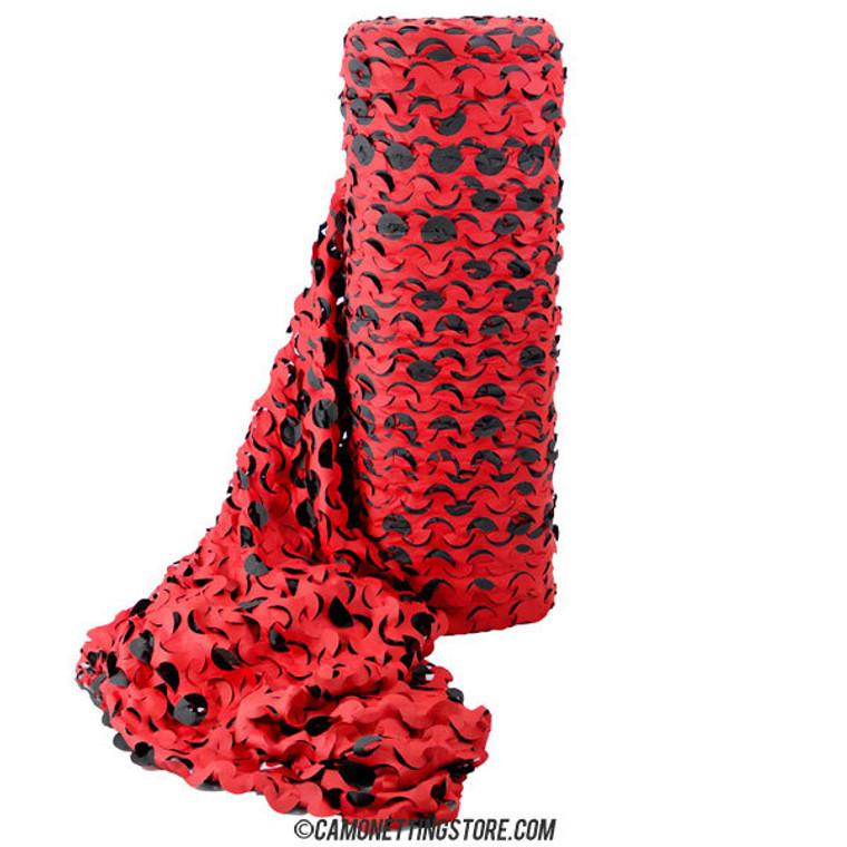 "Red/Black ""Devil Camo Netting - Ultra-Lite, Fire Rated Bulk Roll"