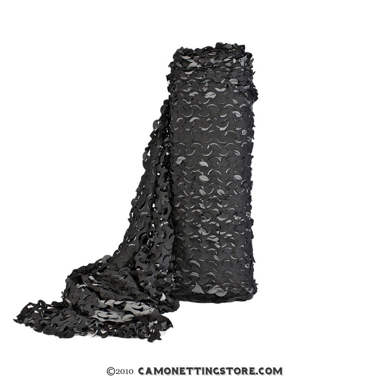 "Black ""Night"" Bulk Roll Camo Netting, Fire Rated, Ultra-Lite"