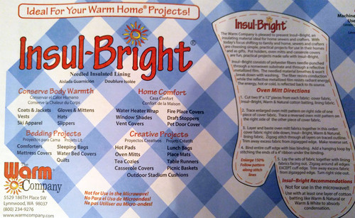 Insul-Bright Heat Resistant Batting Sold By 1/2 Metre The Warm Company 55cm Wide