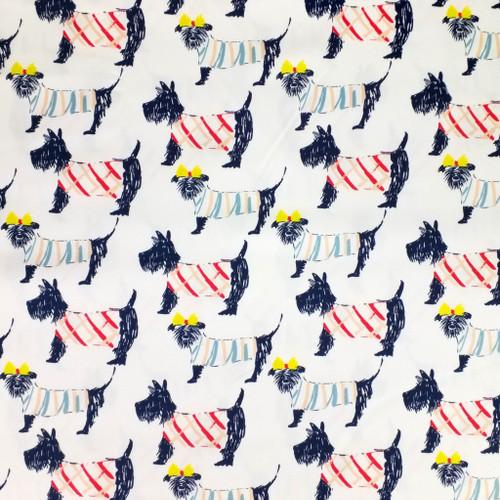 Sevenberry - Canvas Fabric Scottish Dog Print Japanese Fabric