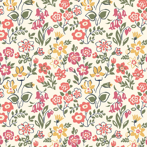 Liberty of London - Cottage Garden - Lawn Games - Red Quilting Cotton