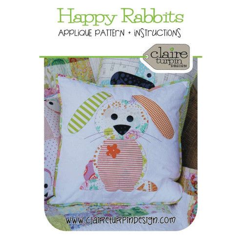 Happy Rabbits Applique Cushion Pattern By Claire Turpin Design