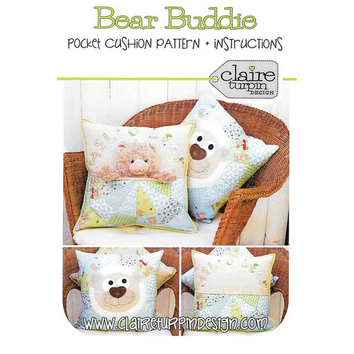 Bear Buddie Pocket Cushion Pattern Claire Turpin Design
