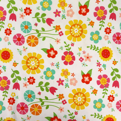 Flannel Material Bloom Floral White Yellow Red/Pink