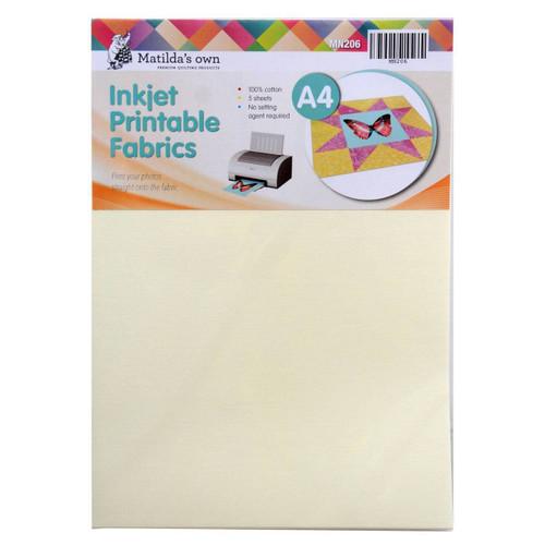 Inkjet Printable Fabric A4 5 Sheets 210x297mm Matildas Own