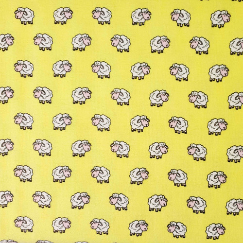 Flannel Fabric Wooly Sheep - Yellow White