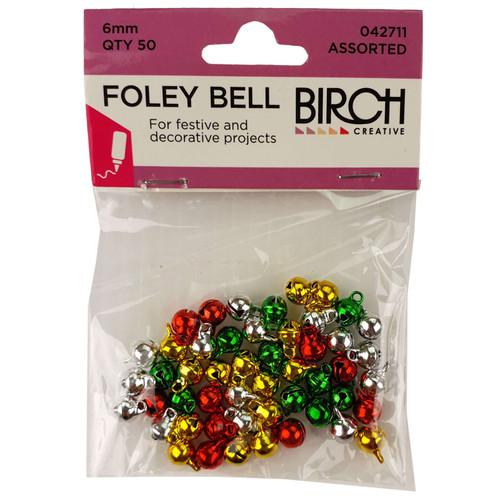 Foley Bells 6mm Assorted Colours Christmas Pack 50pc