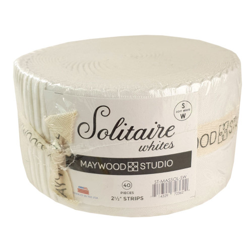Maywood Studio Solitaire White on White 2 1/2 Inch Strips Fabric
