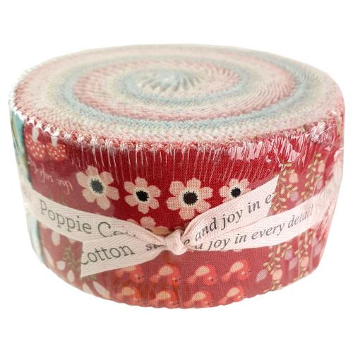 "Poppie Cotton Kaisley Rose  2.5""  Strip Roll Fabric 44pcs"
