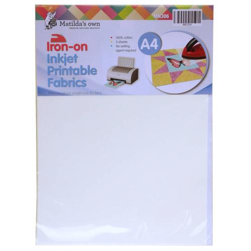 Iron On Inkjet Fabric A4 3 Sheets 210x297mm Matildas Own