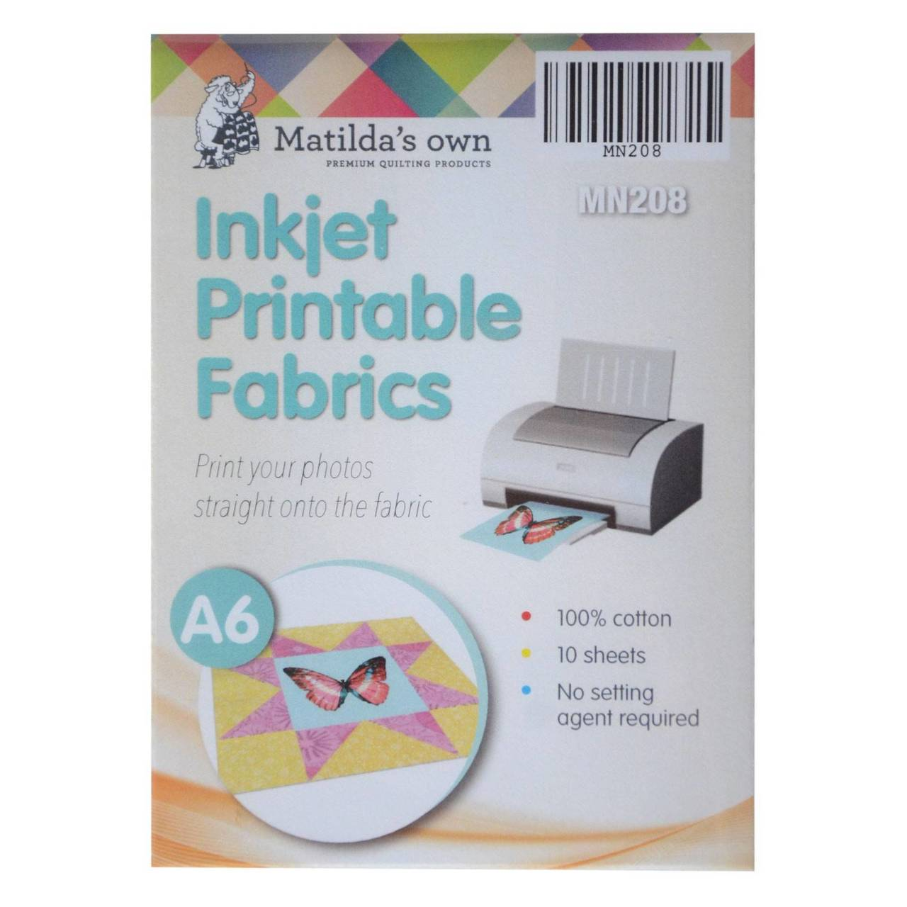 photograph relating to Printable Fabric Paper known as Inkjet Printable Cloth A6 10 Sheets 105x150mm Matildas Private