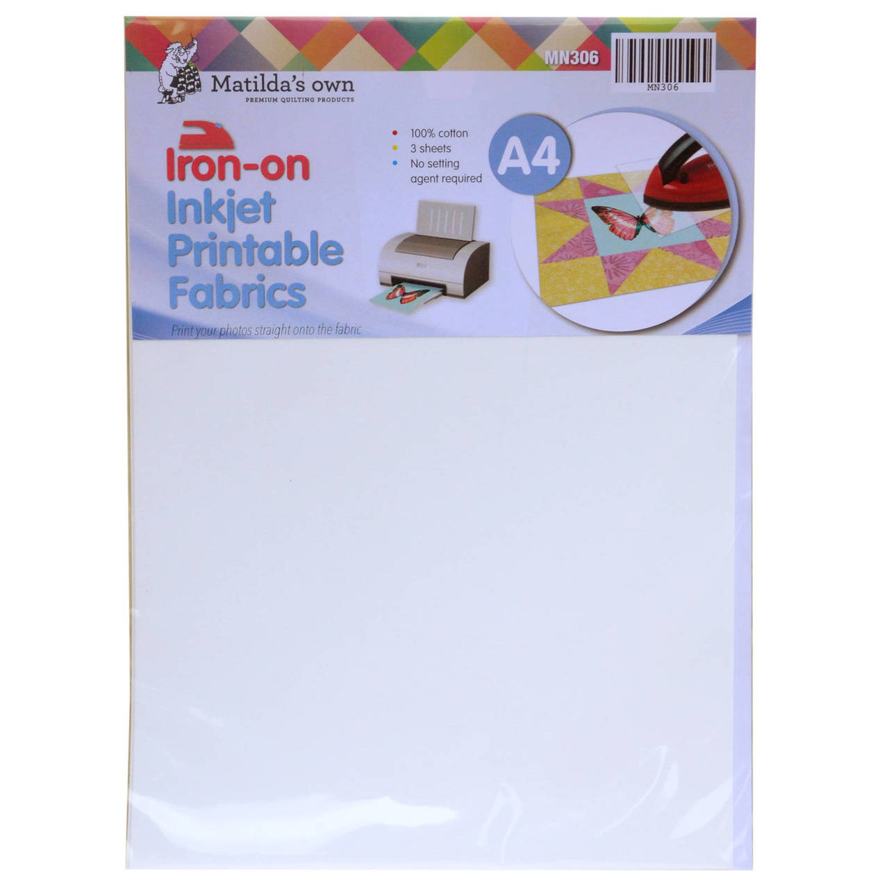 Iron On Inkjet Fabric A4 3 Sheets 210x297mm Matildas Own