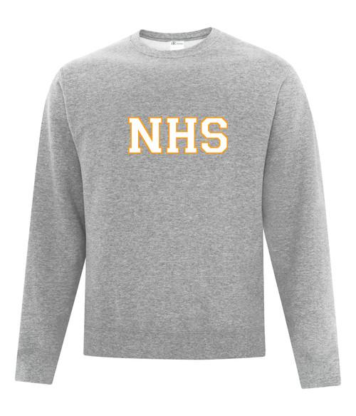 Newmarket High School Athletic Heather Grey Crewneck Sweatshirt - White on Gold