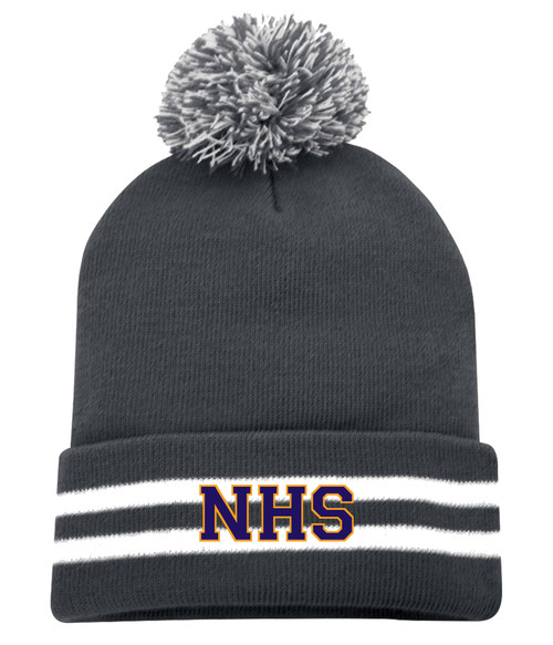 Newmarket High School Iron Grey and White Striped Pom Toque - Purple on gold