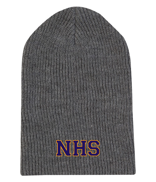 Newmarket High School Charcoal Heather Slouchie - Purple on gold