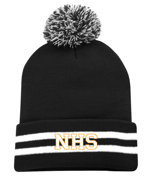 Newmarket High School Black and White Striped Pom Toque - White on gold