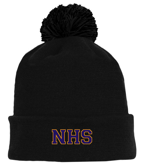 Newmarket High School Black Pom Touque - Purple on gold