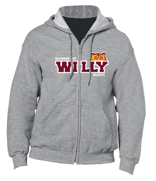 Williamson Wildcats Adult Willy Peeking Tiger Logo Hoody