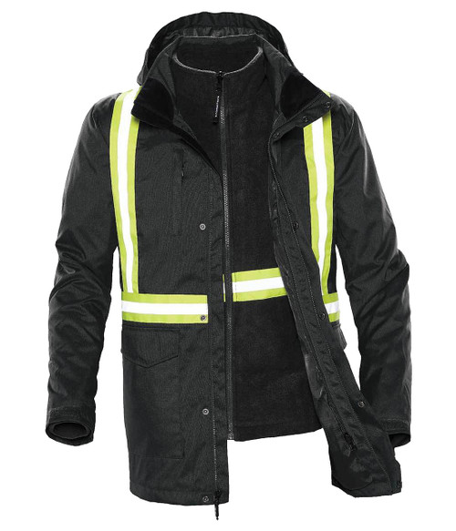 NRG Work Site Men's 3-in-1 Reflective Insulated Work Coat - BLACK