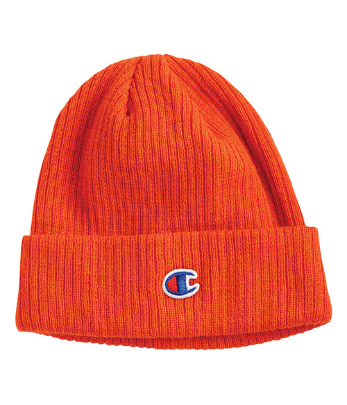 Seasonal Shop's Champion Unisex Cuffed Ribbed Knit Beanie - Spicy Orange