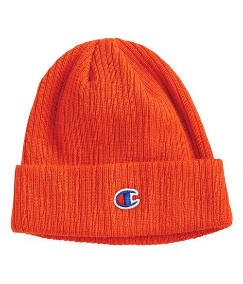Seasonal Shop's Champion Unisex Cuffed Ribbed Knit Beanie - Spicy Orange