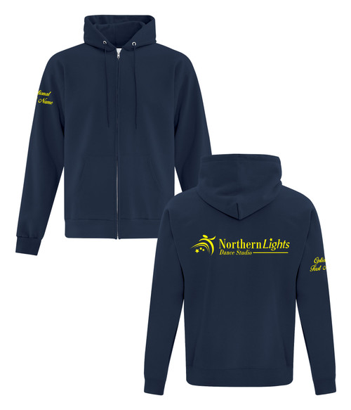 Northern Lights Dance Studio Adult Fleece Hooded Full Zip Sweatshirt