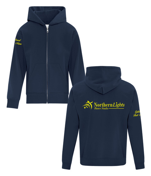 Northern Lights Dance Studio Youth Fleece Hooded Full Zip Sweatshirt