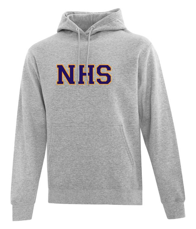 Newmarket High School Athletic Heather Grey Hoody - Purple on Gold Logo